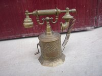 antique brass telephone - Rare Old Qing Dynasty royal BRASS GLASS clock mechanical watch can work carving telephone with mark