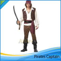 2015 Nova fábrica Preço Halloween Costume Capitão Jack Sparrow de Piratas Man Suit Caribe Roupa cênicas Qualidade Freeshipping alta