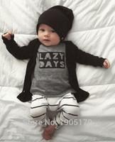 stripe pants - NWT Cute Cartoon Lazy Days Baby Girls Boys Outfits Set Summer Sets Boy Cotton Tops Harem Pants Suits Kid Stripe Ins Shirts