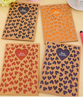 Wholesale Vintage Style DHL EMS FREE Notebook Hollow out Love heart design Soft copybook Note book Diary Book Promotion Gift WF31