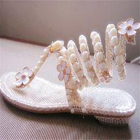 beautiful cracks - new beautiful handmade wedding shoes Winding snake sandals Little Daisy Pearl Rhinestone crack flat bridal shoes