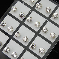 Wholesale 72pcs Jewelry mm Clear Austria Cubic Zirconia Stainless Steel Fashion Stud Earrings for Womens Mens A