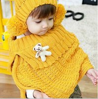 bears fitted hats - Girls Scarves Sets Winter New Fashion Style Children Set Hat Woolen Shawl Bear Toys Kids Clothes Fit Age set T1374