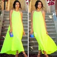 Wholesale 2015 New Summer Fluorescent Green Suspenders Sleeveless Chiffon Women Dress Street Style Plus Size Casual Vestidos Nightclubs Pleated Dress