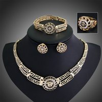 ancient egyptian ring - New Arrival k Gold Filled Austrian Crystal Ancient Egyptian Bridal Statement Necklace Bracelet Earrings Ring Jewelry Sets