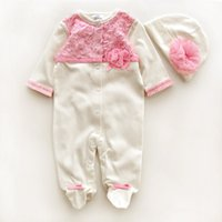 cotton baby body - 2015 Baby Rompers New Baby Girls Footies Infant One Piece Hat Caps Body Suit Cotton Newborn Jumpsuits with Lace Flowers