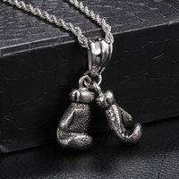antique boxing gloves - Punk Antique Silver Double Pitting Corrosion Boxing Glove Shape L Stainless Steel Pendant necklace jewelry for men SP00827