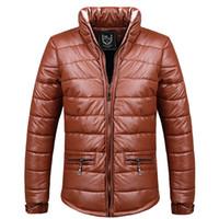 Wholesale Fall Brand New Men Warm Down Jackets Plus Size M XL PU Leather Waterproof amp Windproof Outerwear Cotton Padded Man Winter Parkas