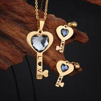 alternative wedding suits - FC Alternative personality LOVE sculptured diamond key pendant earrings Ms Valentine titanium steel pendant earrings suit KL