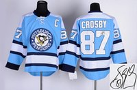 autographs for sale - Autographed Penguins Sidney Crosby Light Blue Hockey Jersey Cheap Brand Signature Ice Hockey Jerseys Hottest Athletic Uniforms for Sale