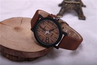 Wholesale Simulation Wooden Relojes Quartz Men Watches Casual Wooden Color Leather Strap Watch Wood Male Wristwatch Relogio Masculino