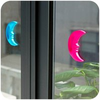 Wholesale 10pcs Modern beautiful moon type cabinet door auxiliary handle device pp plastic handle superglue Window Safety yellow green blue