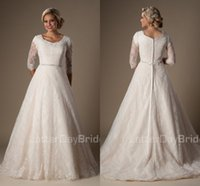 Wholesale Simple Vintage Lace Ball Gown Wedding Dresses Bridal Gowns Modest With Sleeves Covered Buttons Back Temple Wedding Gowns Vestido De Noiva