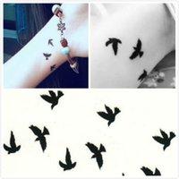 tattoo flash - Newest Unisex Waterproof Body Art temporary tattoo flash Tattoo Sticker Birds Pattern Temporary Tattoo Paper