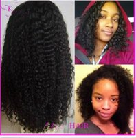 Natural Color american french machine - Afro american virgin brazilian human hair lace wigs kinky curl natural color full lace wigs front lace wigs density DHL