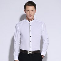 banded collar shirts cotton - New Arrival Summer Men s Banded Collar Shirt Long Sleeve Non Iron Cotton Slim Fit Solid Color Mens Business Casual Dress Shirts