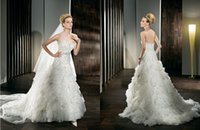 Cheap 2015 Custom A Line Sweetheart Demetrios Wedding Dress 529 Beading Sequins Crystal Sash Tiered Crepe Sweep Train Vestidos Wedding Bridal Gown