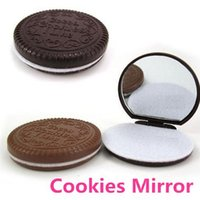 Wholesale 10 Cocoa cookies mirror Chocolate pocket mirror for make up Mini Travel portable mirror Novelty zakka