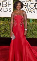 Wholesale 72nd Golden Globe Awards Viola Davis Celebrity Dresses Mermaid Sweep Train Satin With Appliques Evening Gowns Formal Dresses