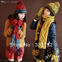 Wholesale New arrival women hat scarf gloves set thick thermal knitted winter knitted women s three piece set warm gift gifts for womens
