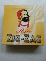 Cheap One box of 69 x 36mm Rice ZIG-ZAG orange cigarette rolling papers with watermarks Double windows ZIG ZAG smoking rolling paper
