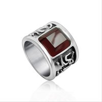 Wholesale High Quality Gemstone Ring Zircon Inlaid The Six Syllable Mantra Men s Ring Stainless Steel Ring Punk Biker Jewelry R0360