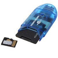 Wholesale Blue Mini USB2 Up To GB Digital Micro MMC S D S D HC TF Muti Memory Card Reader Writer Adapter Connector For Win ME
