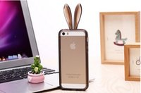 Wholesale Cute Rabbit TPU Bumper Frame Case Soft skin Cover with Rope Retail Package for iphone inch iphone plus inch