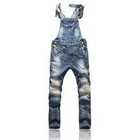 al por mayor trajes de trabajo para los hombres-Front Pocket Design Relajado Front Pocket Design Relajado Moda Denim Overalls Para Hombres Trajes de Vestir para Hombres