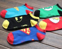 adult cartoon slippers - Superhero socks hosiery Sock Slippers men women adult cartoon cotton ankle socks Superman batman wonder woman green lantern sock underwear