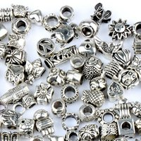 Wholesale 140styles Silver Big Hole Beads for Pandora Charm Bracelets ilia Biagi Bracelets Metals Loose Beads Jewelry DIY