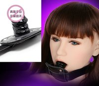 Female mouth gags - BDSM Bondage Gear Mouth Bite Penis Gag Female Slave Trainer Ball Gags Black Short Version Adult Sex Toys Products For Lady