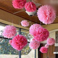 paper pom poms - 20Pcs Tissue Paper Pom Poms Flower Balls Wedding Birthday Party Decor Pink