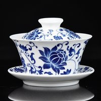 bone china tea cup - Authentic Jingdezhen porcelain teacup blue and white gaiwan kongfu tea set cc nice gift cup