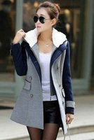 Wholesale New Winter Fashion Women s Wool Blends Coat Double breasted Long Sleeve Stitching Color Slim Outwear Overcoat Lady s Casual Coats