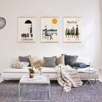 Digital printing wall decor art canvas - Mild Art Drawing London New York Paris Set Modern Abstract Fashion Pop City Poster Print Living Room Bedroom Home Wall Decor Canvas Painting