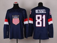 Cheap 2014 Sochi Olympic Team USA Hockey Jersey #81 Phil Kessel Blue Jerseys Brand Hot Sale Hockey Wears Mens Sportswear with 1960 1980 On Sleeve