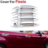 Wholesale 4pcs Newest Stickers Cover Silver ABS Door Handle For Ford Fiesta Accessories Car Styling Fashion