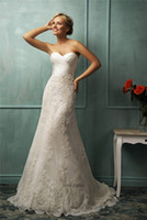 Wholesale Classy Lace Applique A Line Wedding Dresses Beads Sweetheart Neck Sleeveless Zipper Back Chapel Train Satin Amelia Sposa Bridal Gown