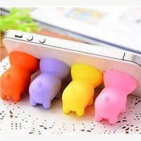 Wholesale 10pcs Cartoon Pig Shape Chuck Cell Phone Mounts Holder Stand Silicone Suction Cup For Mobile Phone Tablet PC Mix Colors and Randomly