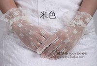 Wholesale New The bride wedding dress lace short winter warm gloves white black red blue pink champagne