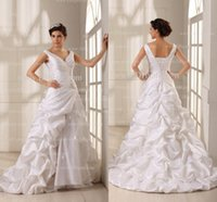 Wholesale Good Quality Designer Wedding Dresses Ruched V Neck Floral Beads Sash Pick Up Taffeta Wedding Gowns Real Image Bridal Gowns GD