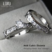 Wholesale No Change Color Stainless Steel Wedding Ring Sets AAA CZ Zircon Square Zircon And Round Zircon R1007