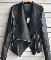 big blazer - Women punk Big Lapel Slim leather jacket With Zipper Ladies European Style Faux PU Blazer Jacket Coat Plus Size Outerwear