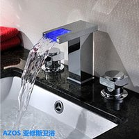 Wholesale Ship Free LED Color Changing Chrome Silver Waterfall Widespread Hole Deck Mounted Hot Cold Water Mixer Sink Tap Bathroom Basin Faucets