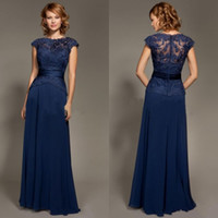 Cheap 2014 Dark Blue Scoop Neckline Lace Chiffon Cap Sleeves Mother Of The Bride Dresses Floor-Length Mommy Dress Plus Size Mother of Bride Dress