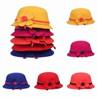 Cheap 3PCS LOT Cute Girls Fedora Dome Caps Children Bowler Bucket Hat With Flower Decoration Christmas Gift Colors Choose ELS*3
