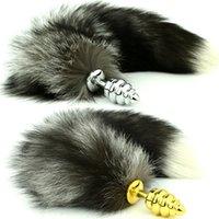 Butt Plugs speculum - Metal Screw Thread Anal Plug with Black Fox Tail Speculum Anal Dilator Ben Wa Balls