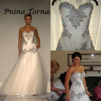 pnina tornai wedding dresses - Bling Pnina Tornai Wedding Dresses A Line Sweetheart Bridal Gowns Bling with Tulle Luxurious Beaded Chapel Train Wedding Dresses