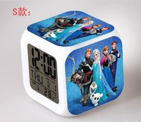 Wholesale frozen Retail And New LED Colors Change Digital Alarm Clock Frozen Anna and Elsa Thermometer Night Colorful Glowing Clock